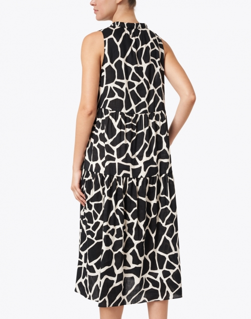 Marc Cain - Black and White Animal Print Stretch Linen Dress