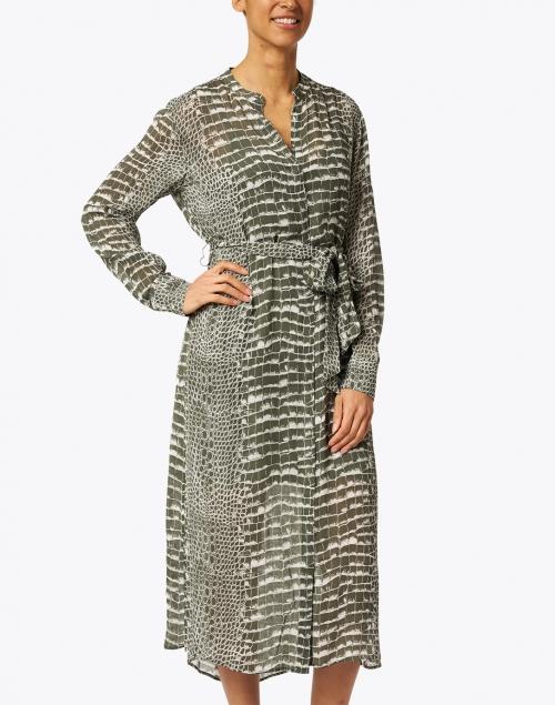 BOSS Hugo Boss - Khaki Green and White Crocodile Printed Dress
