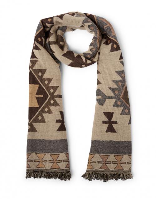 Weekend Max Mara Lucilla Beige Western Desert Print Wool Fringed Scarf