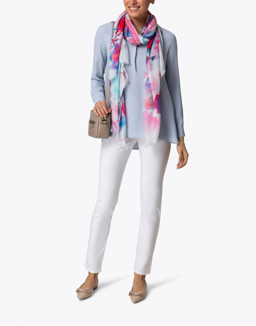 Tilo - Sudden Pink and Blue Floral Modal and Silk Scarf