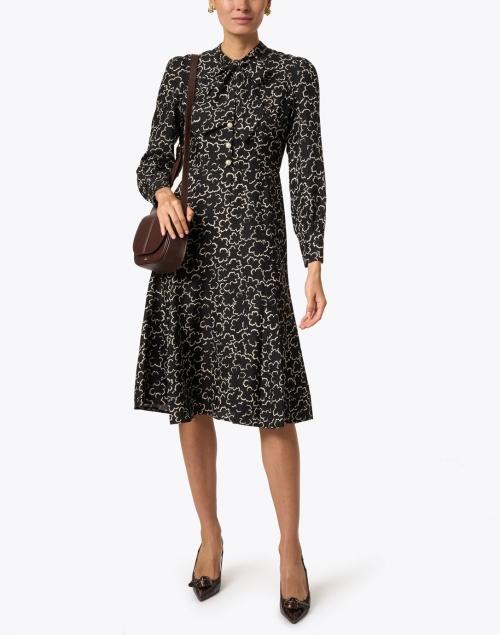 L.K. Bennett - Mortimer Black and Cream Floral Shirt Dress