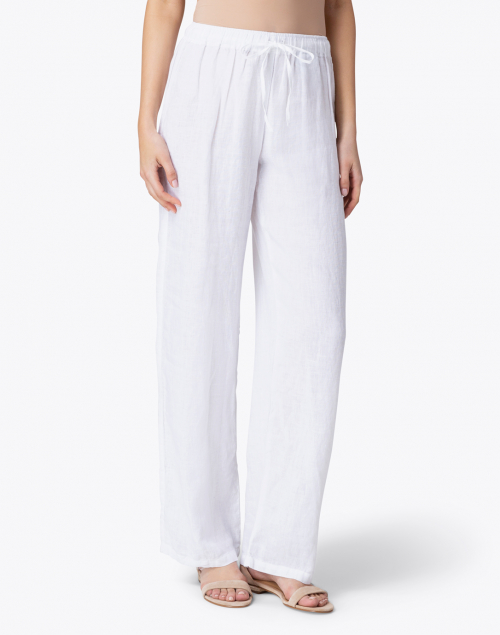 120% Lino - White Linen Wide Leg Drawstring Pant
