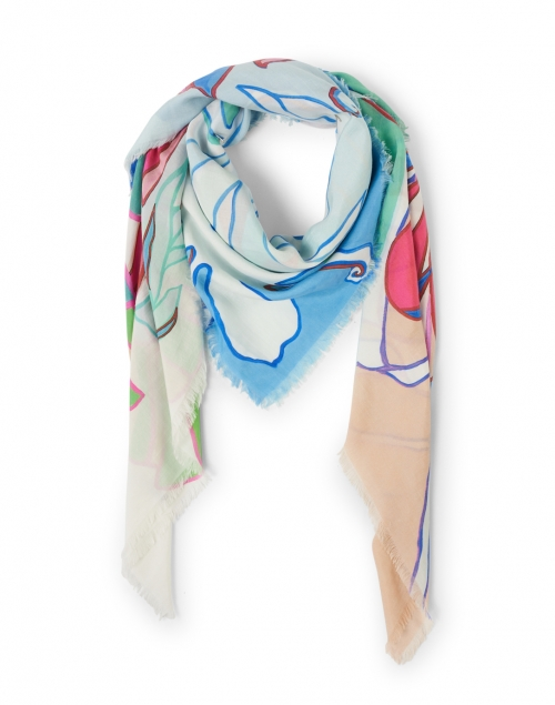 Franco Ferrari Blue Floral Printed Cotton and Silk Scarf