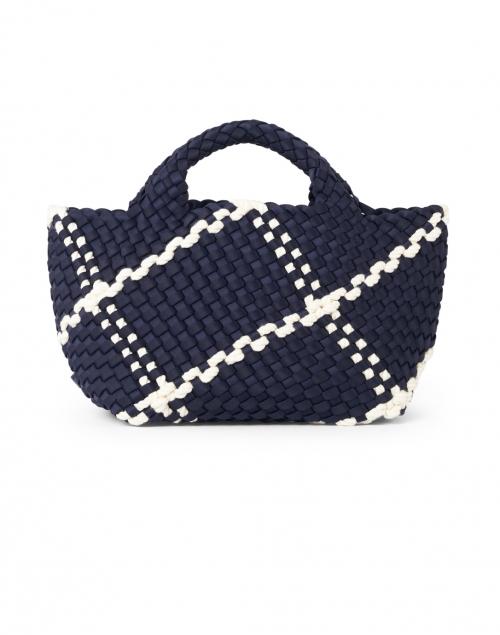 Naghedi - St. Barths Mini Ink Blue and Ecru Woven Handbag