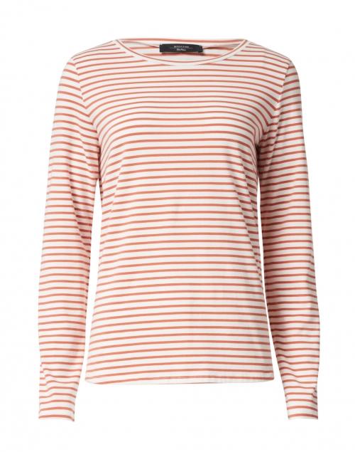 Weekend Max Mara - Soprano Orange and White Striped Stretch Cotton Top