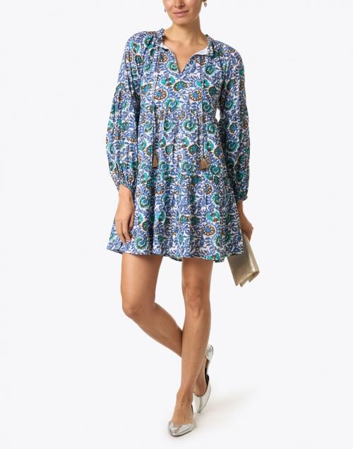 Oliphant - Napa Blue and Gold Lurex Print Dress