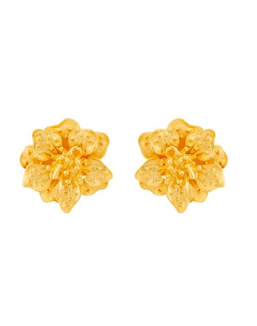 Kenneth Jay Lane Satin Gold Magnolia Flower Clip On Earrings