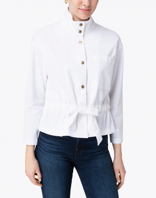 Elliott Lauren - White Waist Tie Detail Cotton Jacket