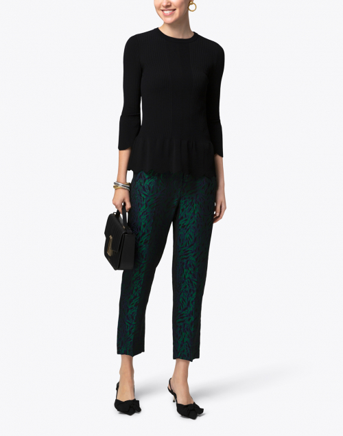 Tara Jarmon - Navy and Green Leopard Printed Pull On Pant