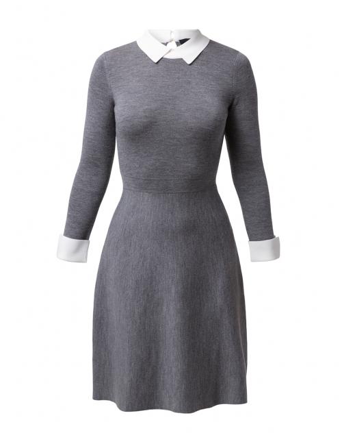 Paule Ka - Grey Knit Dress with White Under Layer