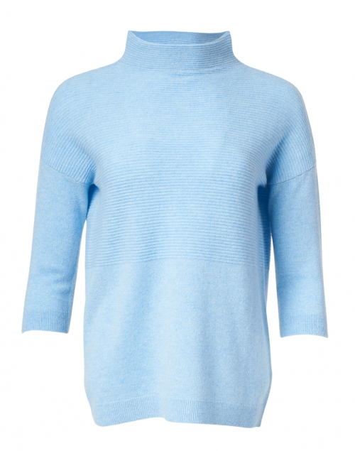 Kinross - Provence Blue Ribbed Cashmere Sweater