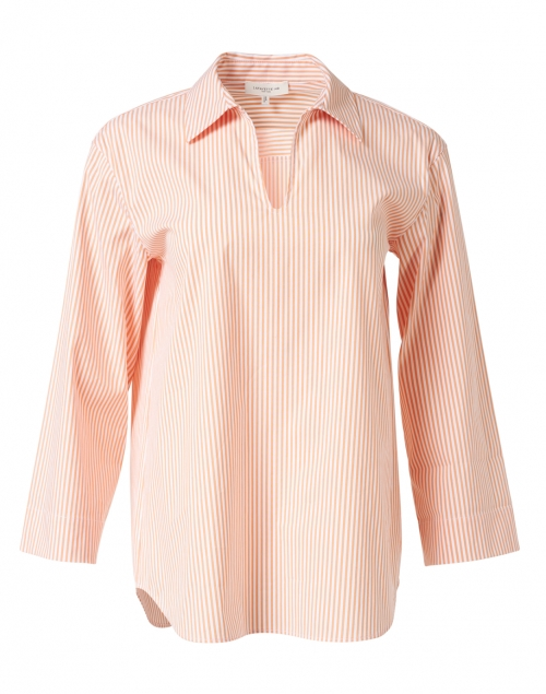 Lafayette 148 New York Pelham Orange and White Stripe Stretch Cotton Shirt