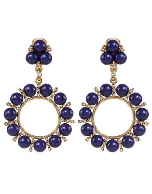 Kenneth Jay Lane - Lapis Balls and Rhinestone Antique Gold Drop Clip Earrings