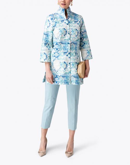 Connie Roberson - Rita Blue Pastice Printed Linen Jacket