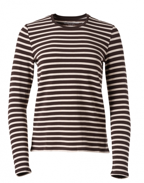 Majestic Filatures Coffee and White Striped French Terry Sweater