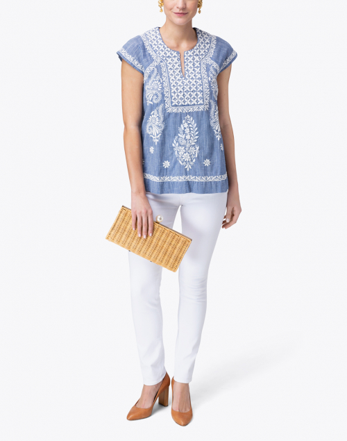 Roller Rabbit - Faith Chambray Blue Top with White Embroidery
