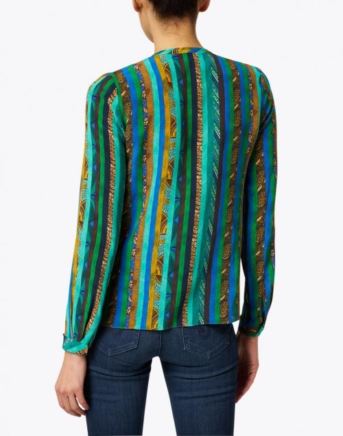 Kobi Halperin - Claire Green Texture Print Silk Blouse