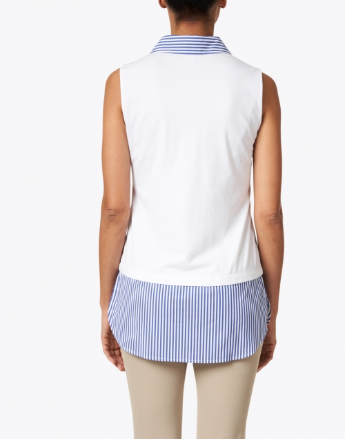 Hinson Wu - Lea Blue and White Striped Cotton Underlayer Shirt