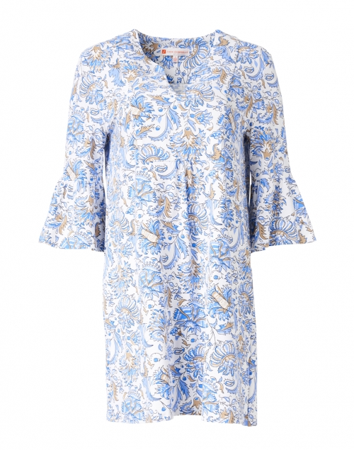 Jude Connally Kerry White and Blue Batik Floral Printed Dress