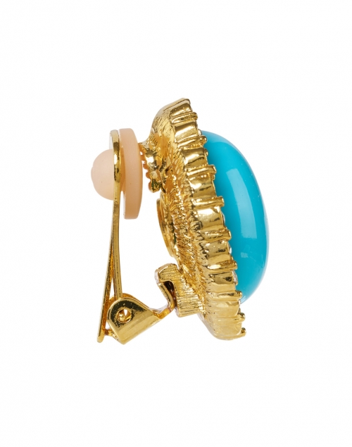 Kenneth Jay Lane - Turquoise Gold and Crystal Oval Clip Earring