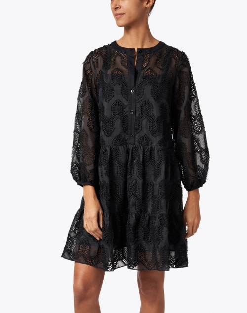 Shoshanna - Talia Black Mosaic Eyelet Dress