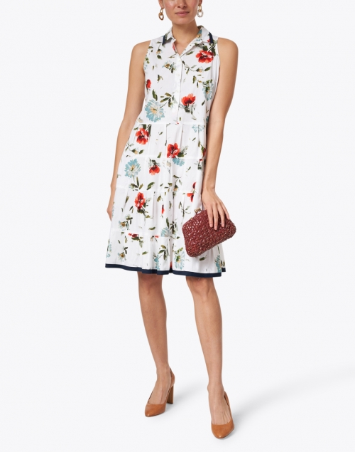 Rosso35 - White, Red and Navy Floral Print Cotton Poplin Shirt Dress