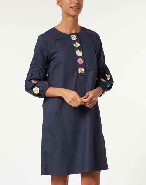 Vilagallo - Sena Navy Embellished Cotton Dress