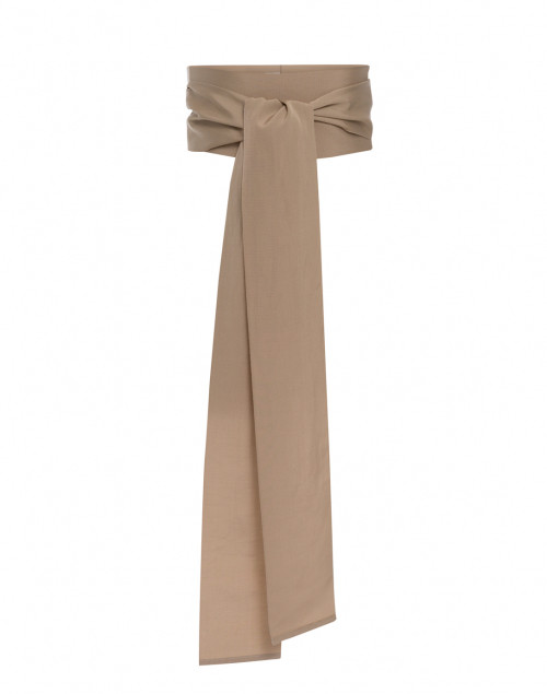 Sara Roka - Beige Wide Ribbed Satin Belt