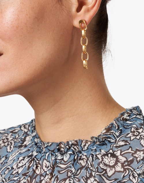 Dean Davidson - Gold Textured Link Drop Earrings