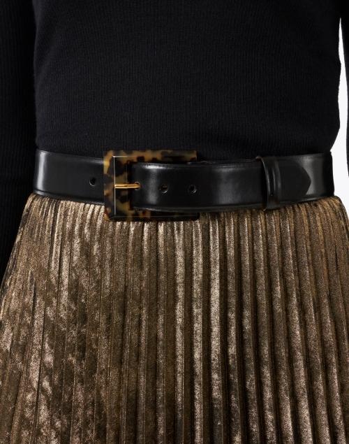 W. Kleinberg - Black Glazed Calf Leather Belt with Tortoise Buckle