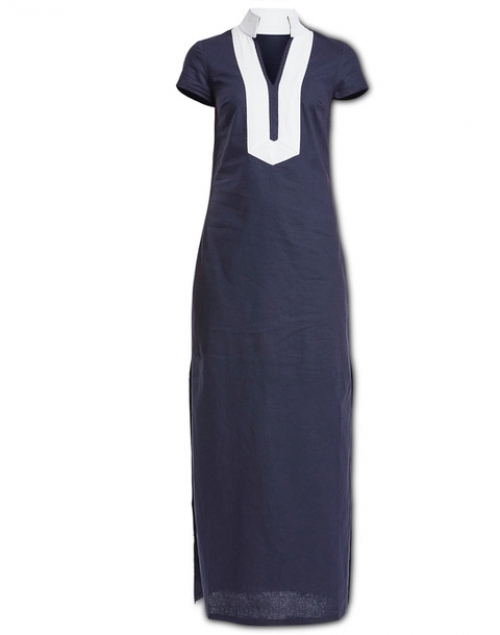 Sail to Sable Navy Short Sleeve Stretch Linen Maxi Dress
