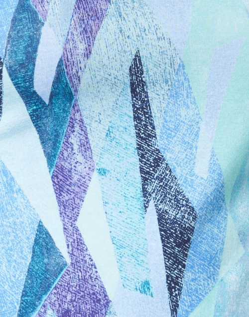 Leggiadro - Turquoise and Purple Kaleidoscope Print Cotton Jersey Tee