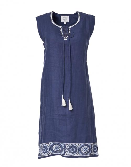 Pomegranate - Navy Medallion Tassel Embroidered Dress