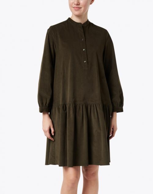 Weekend Max Mara - Dudy Khaki Green Stretch Cotton Corduroy Dress