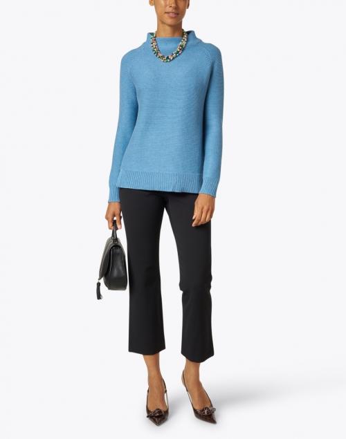 Kinross - Seine Blue Cotton Garter Stitch Sweater