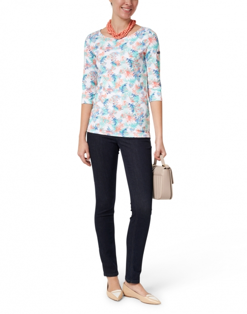 Saint James - Garde Cote Blue and Pink Floral Printed Jersey Top