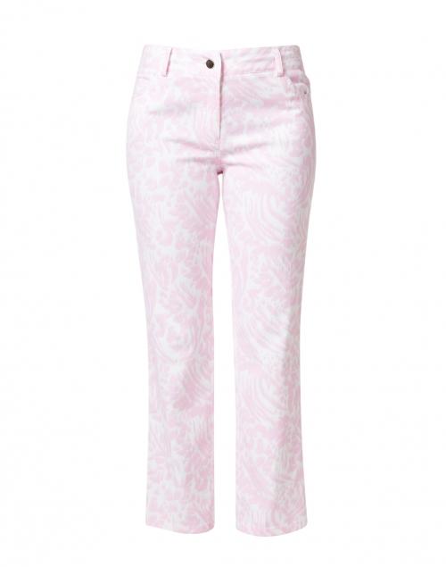 Elliott Lauren Pink Animal Printed Stretch Cotton Five Pocket Crop Jean