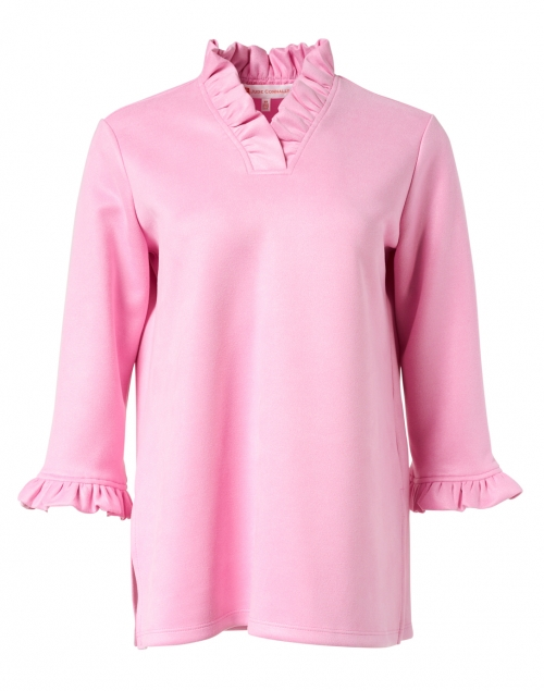 Jude Connally Cora Pink Faux Suede Ruffled Top