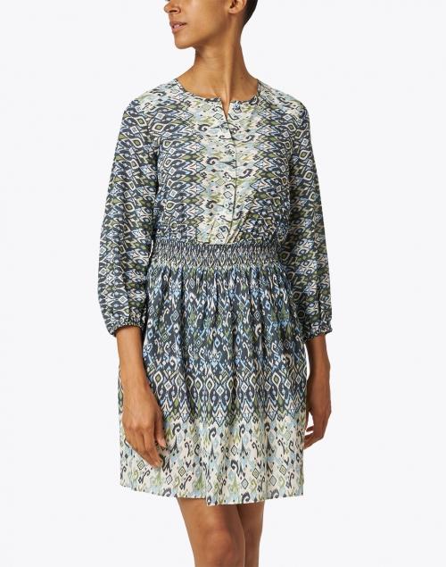 Shoshanna - Mirza Seafoam and Blue Ikat Printed Dress