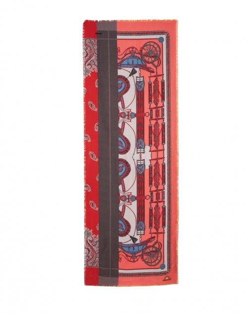 Franco Ferrari - Maggiorelo Multicolor Carriage Print Silk Double Face Scarf