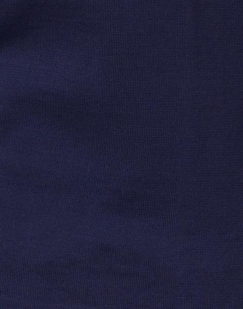 Kinross - Navy Pima Cotton Crochet Cuff Top