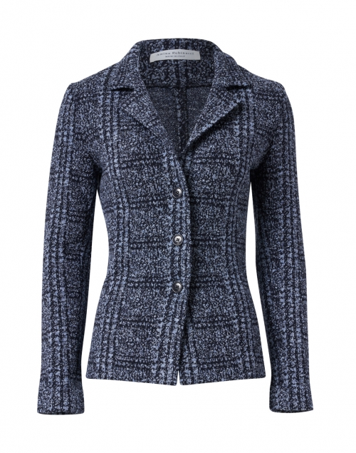 Amina Rubinacci - Door Navy and Blue Check Knit Jacket