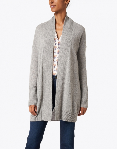 White + Warren - Grey Cashmere Ribbed Cardigan