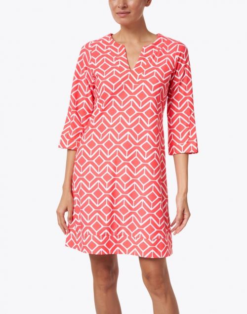 Jude Connally - Megan Red and White Sail Geo Print Dress