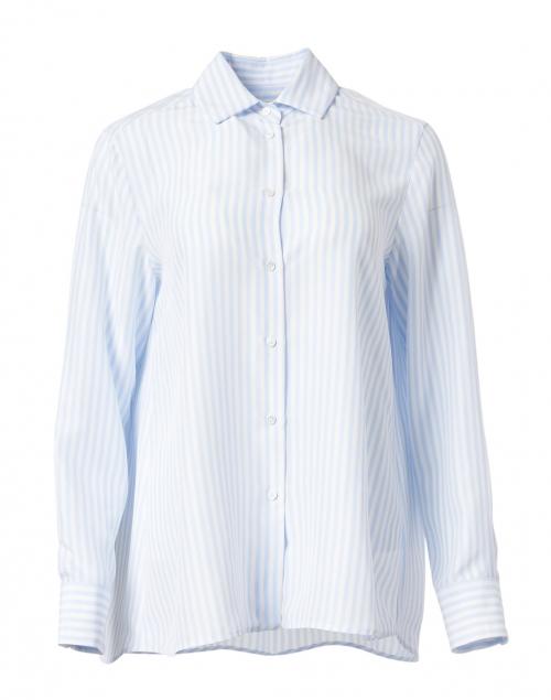 Weekend Max Mara Pomez Light Blue Stripe Silk Shirt
