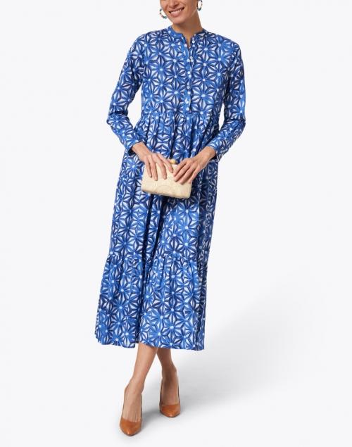 Ro's Garden - Blue Geometric Floral Print Cotton Dress