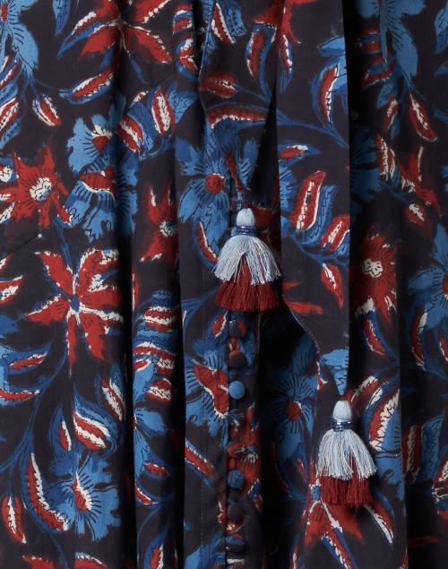 Bella Tu - Katya Navy, Red & Blue Floral Cotton Shirt Dress