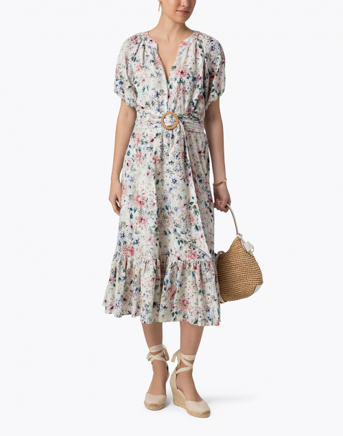 Shoshanna Caricia Ivory Floral Eyelet Midi Dress