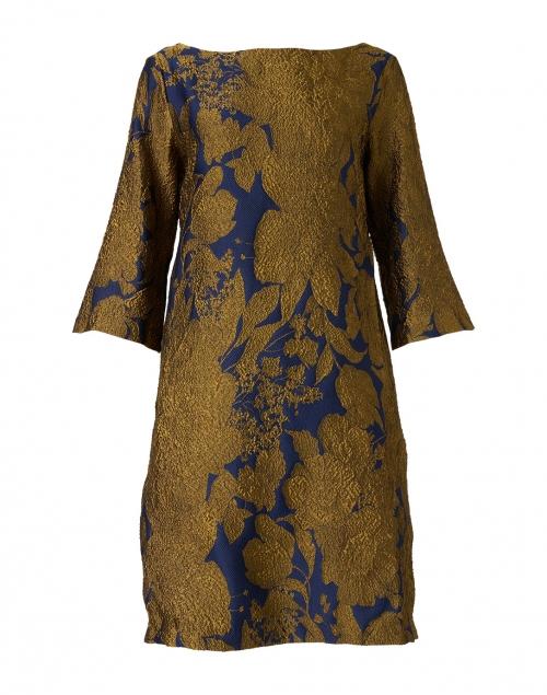 Sara Roka Lakka Navy and Gold Silk Jacquard Dress