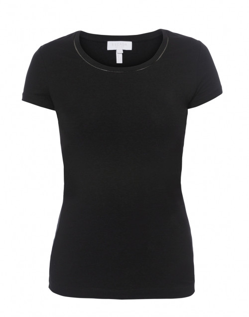 Escada - Ebasica Black Stretch Cotton Top with Open Trim